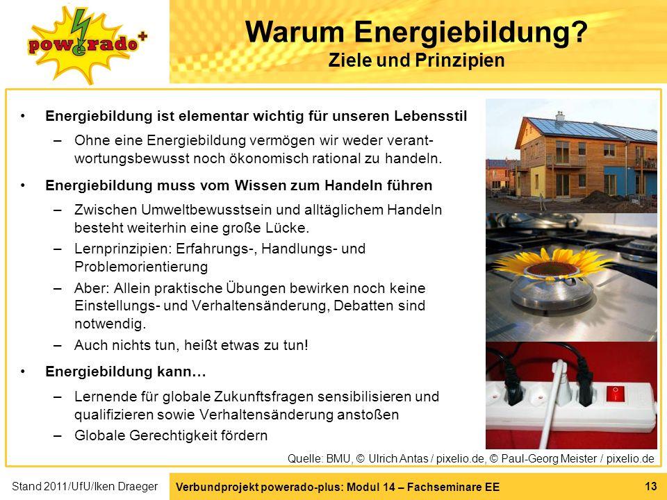 Verbundprojekt powerado-plus: Modul 14 – Fachseminare EE 13 Warum Energiebildung? Ziele und Prinzipien Energiebildung ist elementar wichtig für unsere