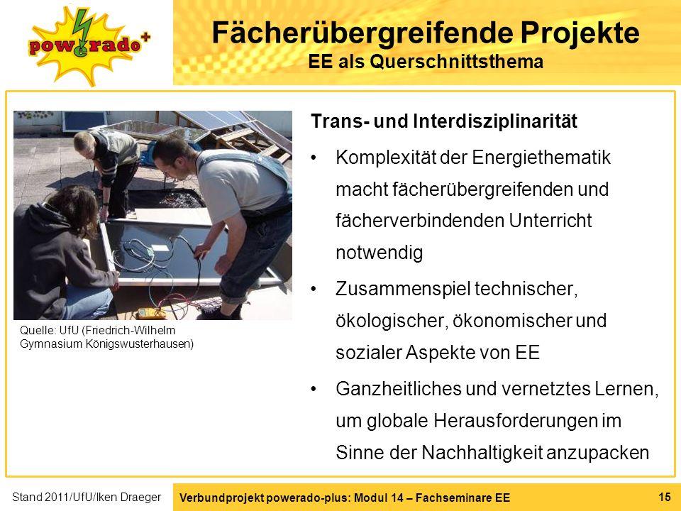 Verbundprojekt powerado-plus: Modul 14 – Fachseminare EE 15 Fächerübergreifende Projekte EE als Querschnittsthema Trans- und Interdisziplinarität Komp