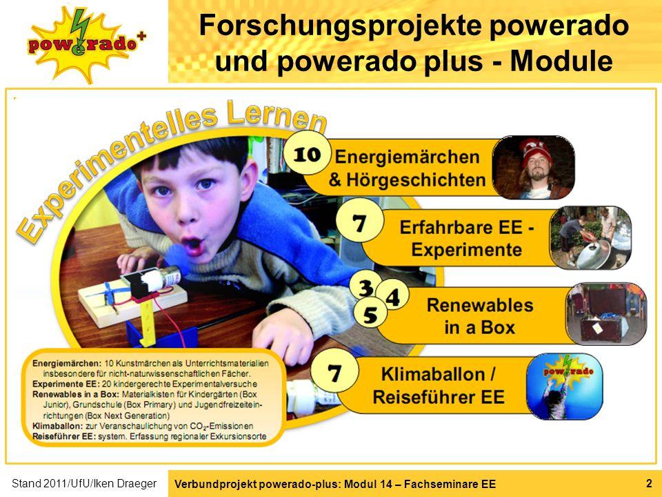 Verbundprojekt powerado-plus: Modul 14 – Fachseminare EE Stand 2011/UfU/Iken Draeger 2 Forschungsprojekte powerado und powerado plus - Module