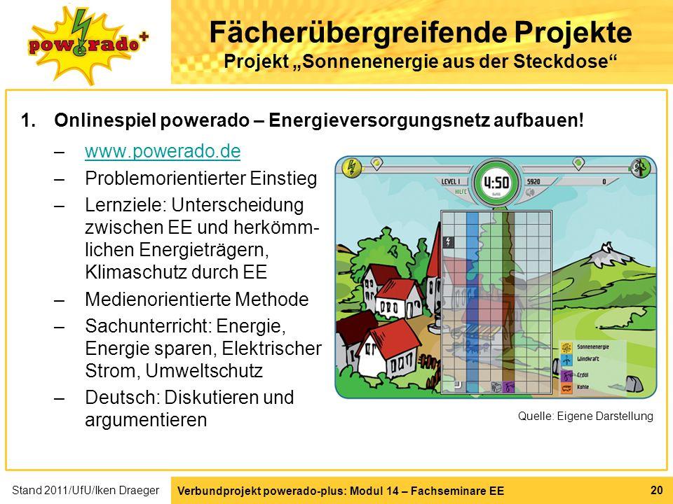 Verbundprojekt powerado-plus: Modul 14 – Fachseminare EE 20 Fächerübergreifende Projekte Projekt Sonnenenergie aus der Steckdose 1.Onlinespiel powerad