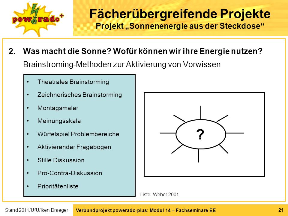 Verbundprojekt powerado-plus: Modul 14 – Fachseminare EE 21 Fächerübergreifende Projekte Projekt Sonnenenergie aus der Steckdose 2.Was macht die Sonne