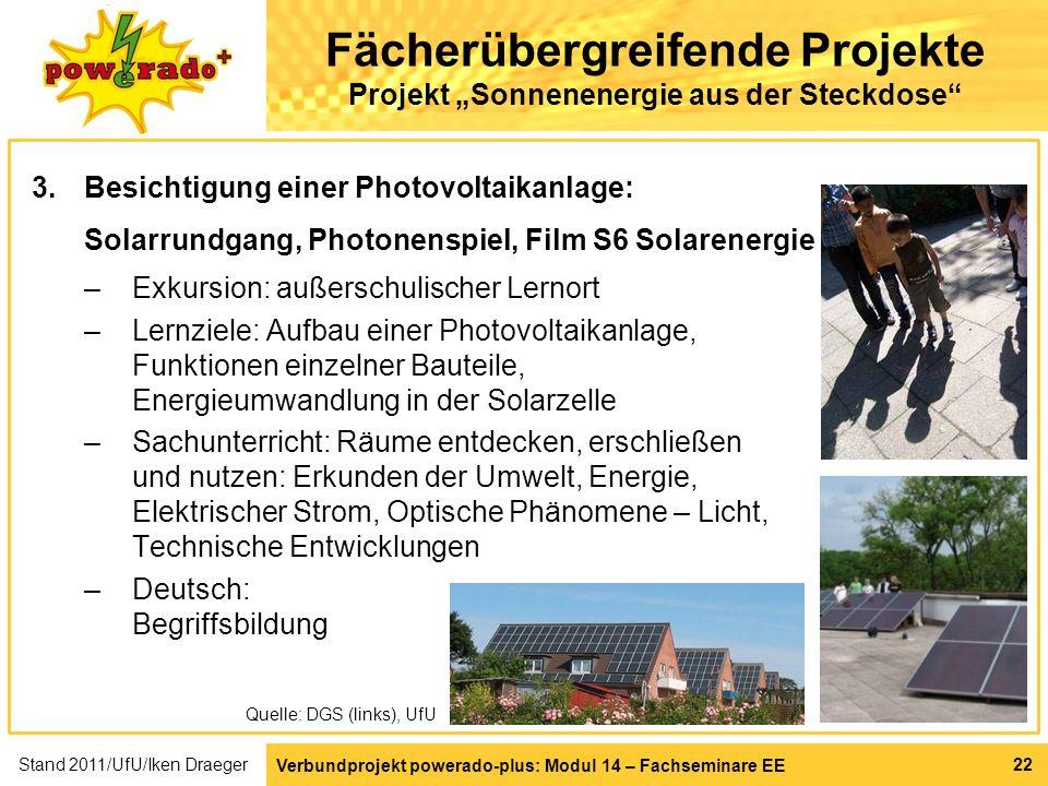 Verbundprojekt powerado-plus: Modul 14 – Fachseminare EE 22 Fächerübergreifende Projekte Projekt Sonnenenergie aus der Steckdose 3.Besichtigung einer