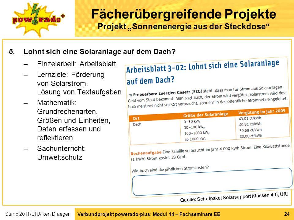Verbundprojekt powerado-plus: Modul 14 – Fachseminare EE 24 Fächerübergreifende Projekte Projekt Sonnenenergie aus der Steckdose 5.Lohnt sich eine Sol
