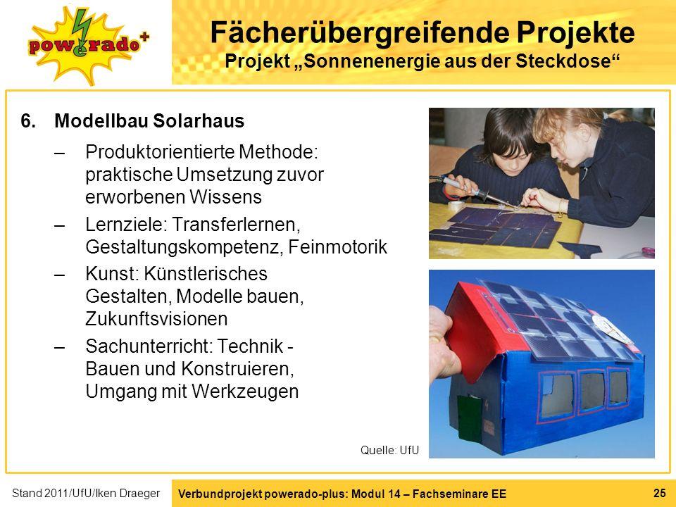 Verbundprojekt powerado-plus: Modul 14 – Fachseminare EE 25 Fächerübergreifende Projekte Projekt Sonnenenergie aus der Steckdose 6.Modellbau Solarhaus