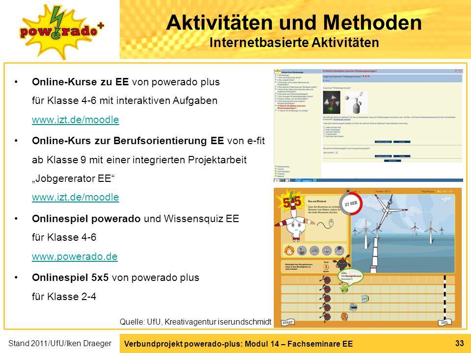 Verbundprojekt powerado-plus: Modul 14 – Fachseminare EE 33 Aktivitäten und Methoden Internetbasierte Aktivitäten Online-Kurse zu EE von powerado plus