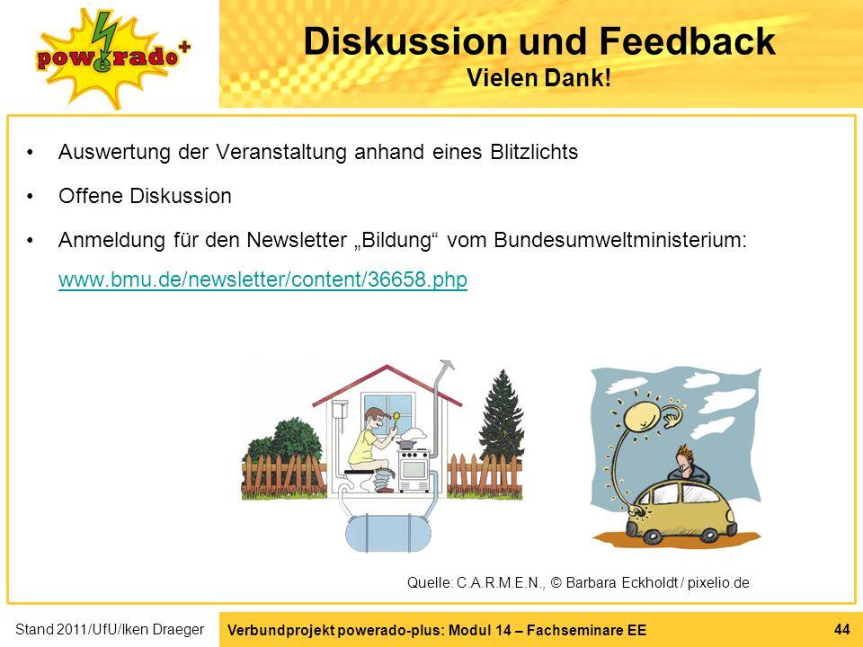Verbundprojekt powerado-plus: Modul 14 – Fachseminare EE 44 Diskussion und Feedback Vielen Dank! Auswertung der Veranstaltung anhand eines Blitzlichts