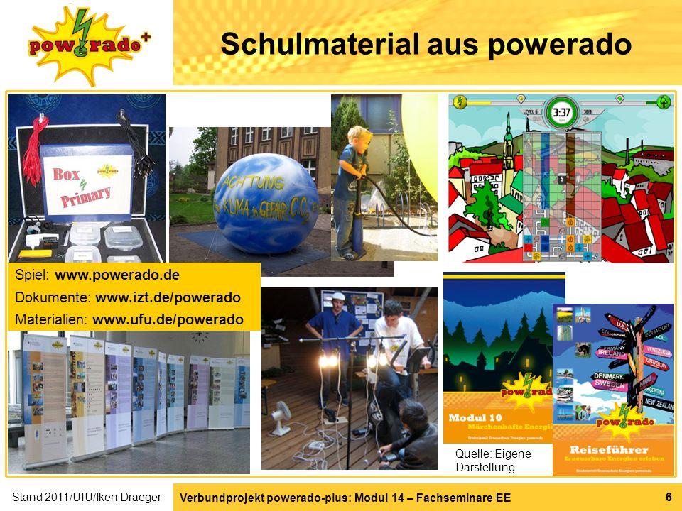 Verbundprojekt powerado-plus: Modul 14 – Fachseminare EE 66 Schulmaterial aus powerado Quelle: Eigene Darstellung Spiel: www.powerado.de Dokumente: ww