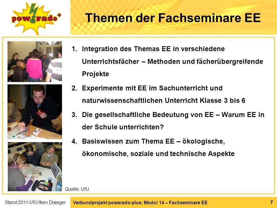 Verbundprojekt powerado-plus: Modul 14 – Fachseminare EE 77 Themen der Fachseminare EE 1.Integration des Themas EE in verschiedene Unterrichtsfächer –