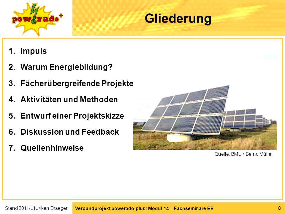 Verbundprojekt powerado-plus: Modul 14 – Fachseminare EE 19 Fächerübergreifende Projekte Projekt Sonnenenergie aus der Steckdose Projektverlauf Sonne aus der Steckdose 1.Onlinespiel powerado – Energieversorgungsnetz aufbauen.