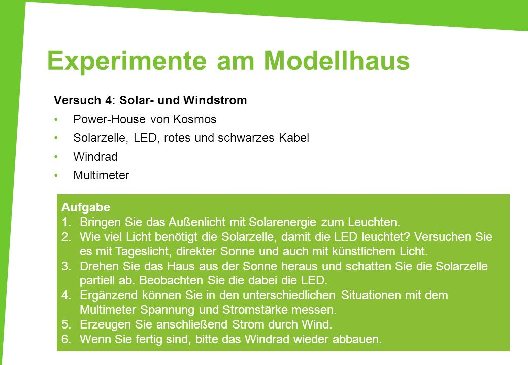 Experimente am Modellhaus Versuch 4: Solar- und Windstrom Power-House von Kosmos Solarzelle, LED, rotes und schwarzes Kabel Windrad Multimeter Aufgabe
