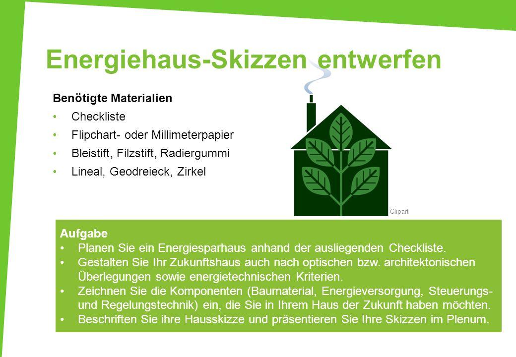 Energiehaus-Skizzen entwerfen Benötigte Materialien Checkliste Flipchart- oder Millimeterpapier Bleistift, Filzstift, Radiergummi Lineal, Geodreieck,