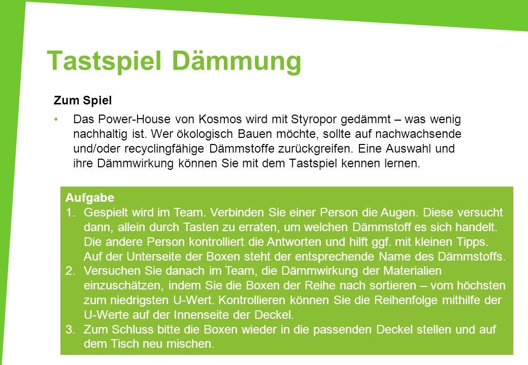 Tastspiel Dämmung Zum Spiel Das Power-House von Kosmos wird mit Styropor gedämmt – was wenig nachhaltig ist. Wer ökologisch Bauen möchte, sollte auf n