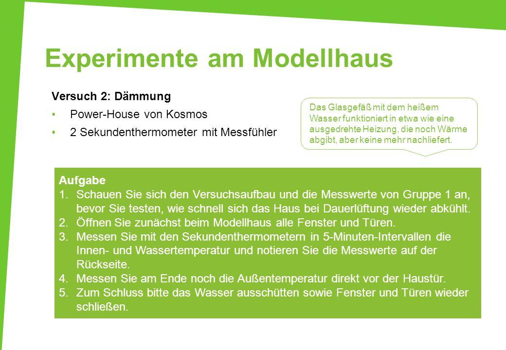 Experimente am Modellhaus Versuch 2: Dämmung Power-House von Kosmos 2 Sekundenthermometer mit Messfühler Aufgabe 1.Schauen Sie sich den Versuchsaufbau