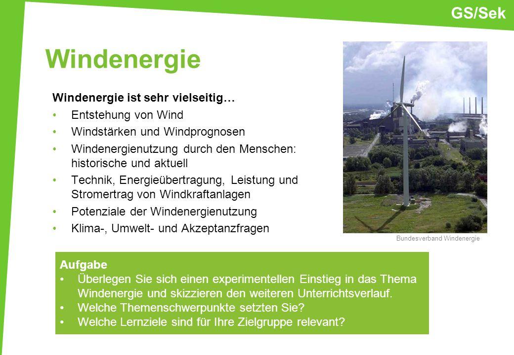Windenergie Windenergie ist sehr vielseitig… Entstehung von Wind Windstärken und Windprognosen Windenergienutzung durch den Menschen: historische und
