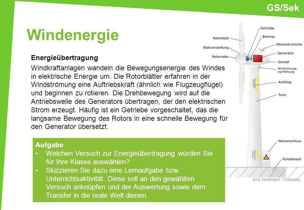 Windenergie Energieübertragung Windkraftanlagen wandeln die Bewegungsenergie des Windes in elektrische Energie um. Die Rotorblätter erfahren in der Wi