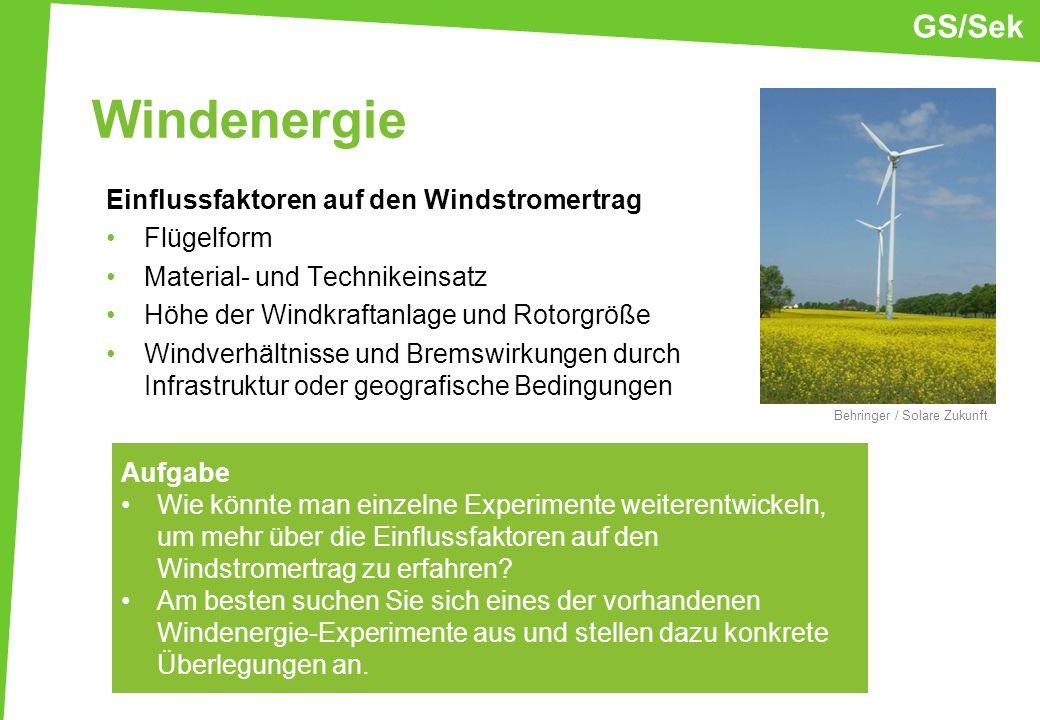 Windenergie Einflussfaktoren auf den Windstromertrag Flügelform Material- und Technikeinsatz Höhe der Windkraftanlage und Rotorgröße Windverhältnisse