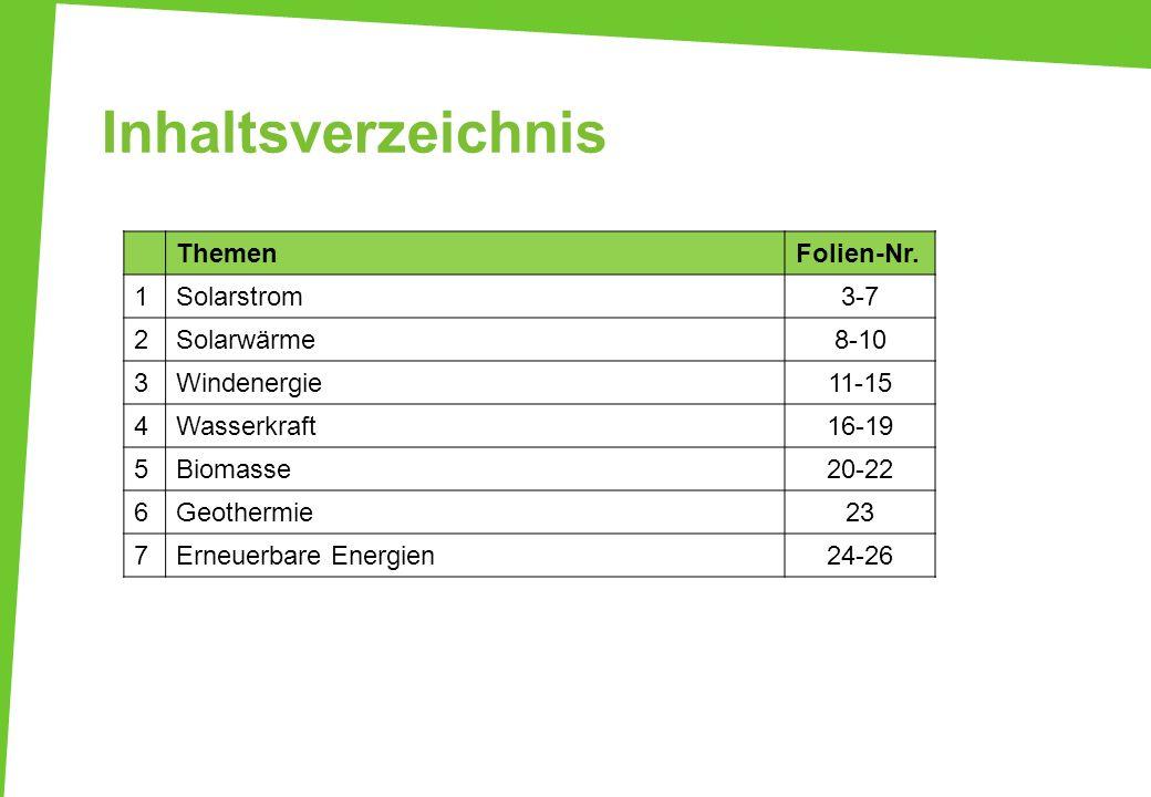 Inhaltsverzeichnis ThemenFolien-Nr. 1Solarstrom3-7 2Solarwärme8-10 3Windenergie11-15 4Wasserkraft16-19 5Biomasse20-22 6Geothermie23 7Erneuerbare Energ