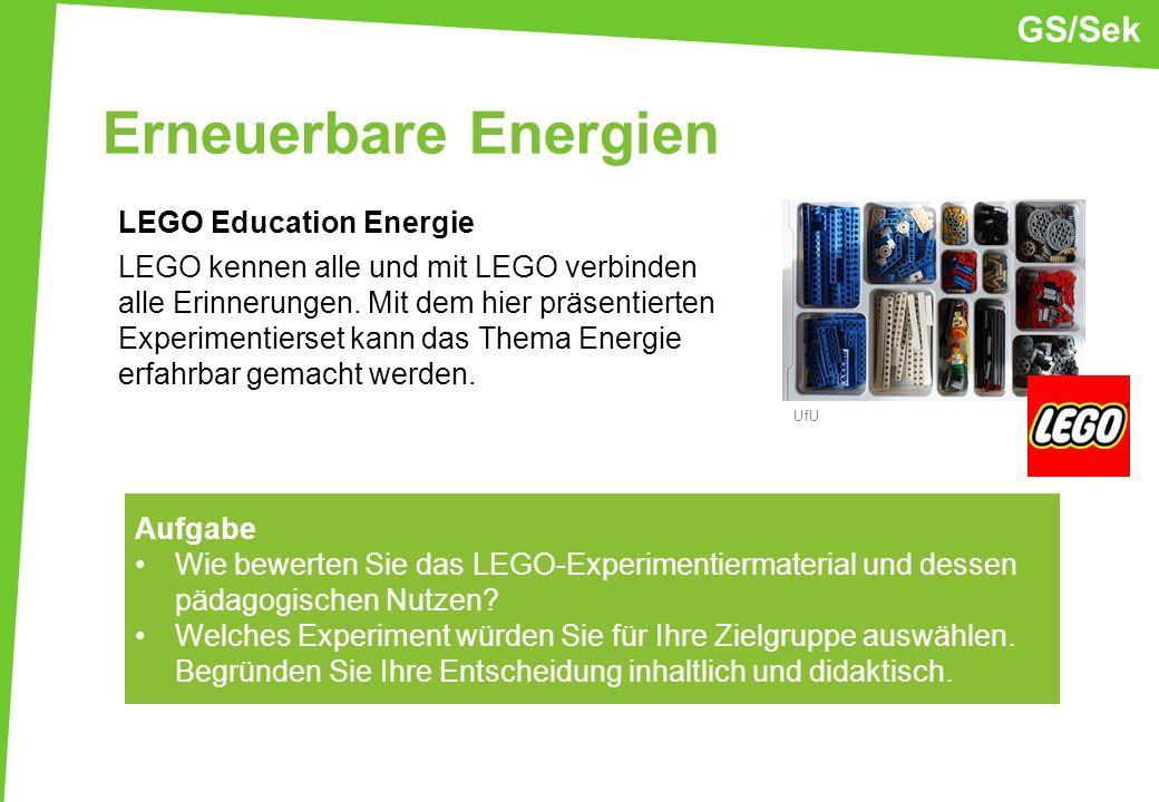 Erneuerbare Energien LEGO Education Energie LEGO kennen alle und mit LEGO verbinden alle Erinnerungen. Mit dem hier präsentierten Experimentierset kan