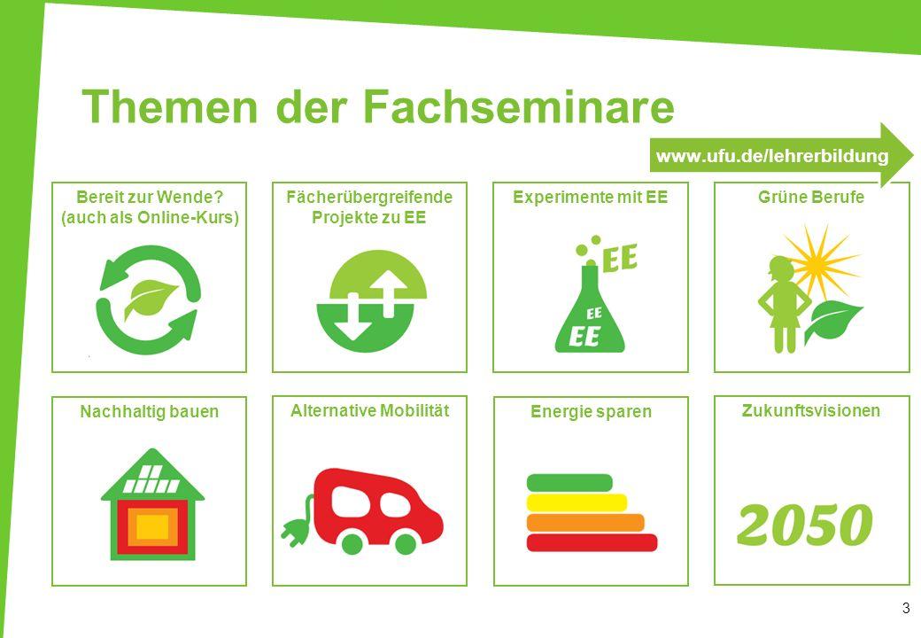 Zukunftsvisionen Experimente mit EEBereit zur Wende? (auch als Online-Kurs) Fächerübergreifende Projekte zu EE Alternative Mobilität Energie sparenNac