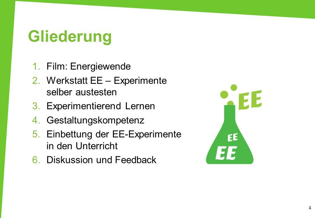 Gliederung 1.Film: Energiewende 2.Werkstatt EE – Experimente selber austesten 3.Experimentierend Lernen 4.Gestaltungskompetenz 5.Einbettung der EE-Exp