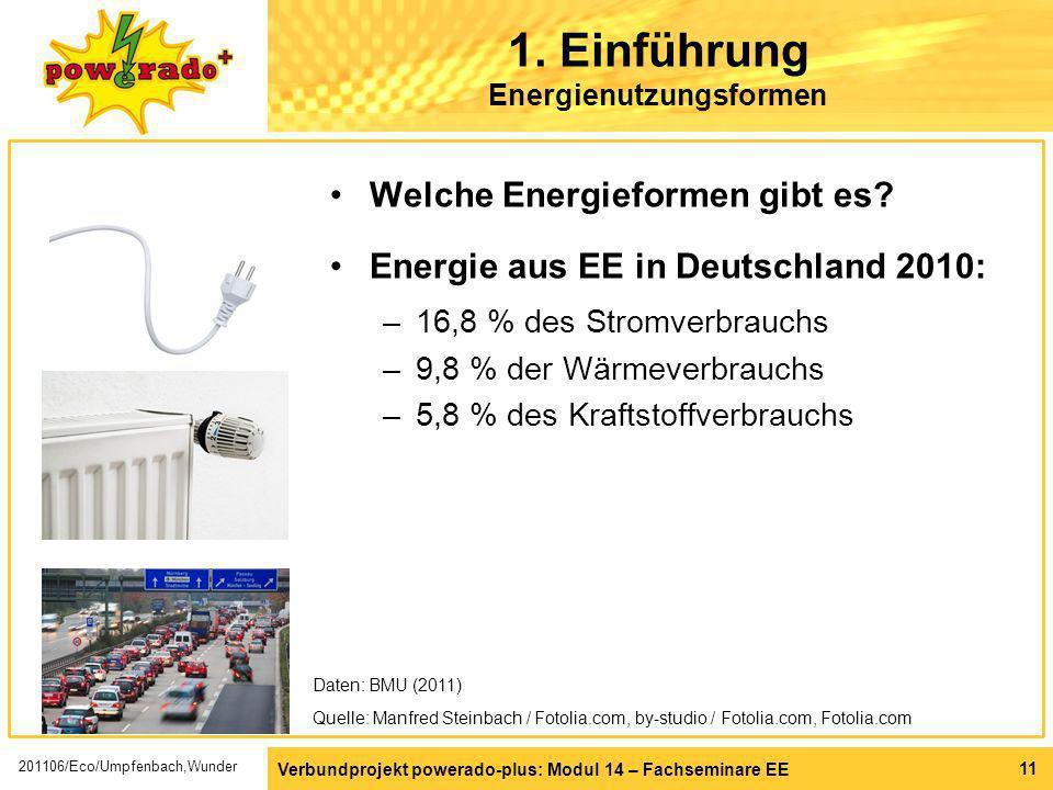 Verbundprojekt powerado-plus: Modul 14 – Fachseminare EE 11 1. Einführung Energienutzungsformen Welche Energieformen gibt es? Energie aus EE in Deutsc