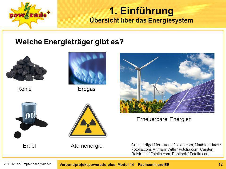 Verbundprojekt powerado-plus: Modul 14 – Fachseminare EE 12 1. Einführung Übersicht über das Energiesystem Welche Energieträger gibt es? Erdöl Quelle: