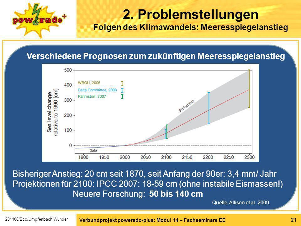 Verbundprojekt powerado-plus: Modul 14 – Fachseminare EE 21 2. Problemstellungen Folgen des Klimawandels: Meeresspiegelanstieg Bisheriger Anstieg: 20