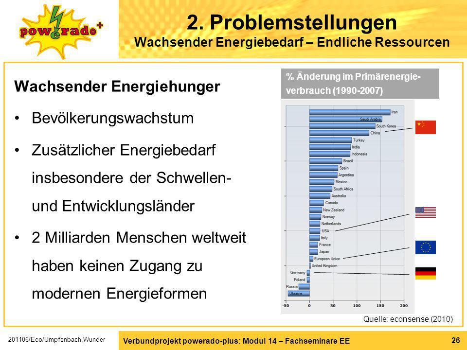 Verbundprojekt powerado-plus: Modul 14 – Fachseminare EE 26 2. Problemstellungen Wachsender Energiebedarf – Endliche Ressourcen Wachsender Energiehung