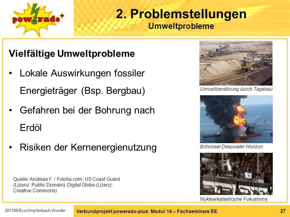 Verbundprojekt powerado-plus: Modul 14 – Fachseminare EE 27 2. Problemstellungen Umweltprobleme Vielfältige Umweltprobleme Lokale Auswirkungen fossile