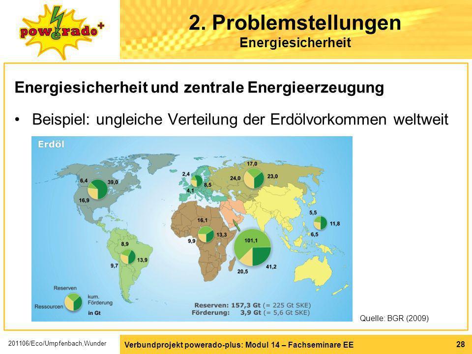 Verbundprojekt powerado-plus: Modul 14 – Fachseminare EE 28 2. Problemstellungen Energiesicherheit Energiesicherheit und zentrale Energieerzeugung Bei