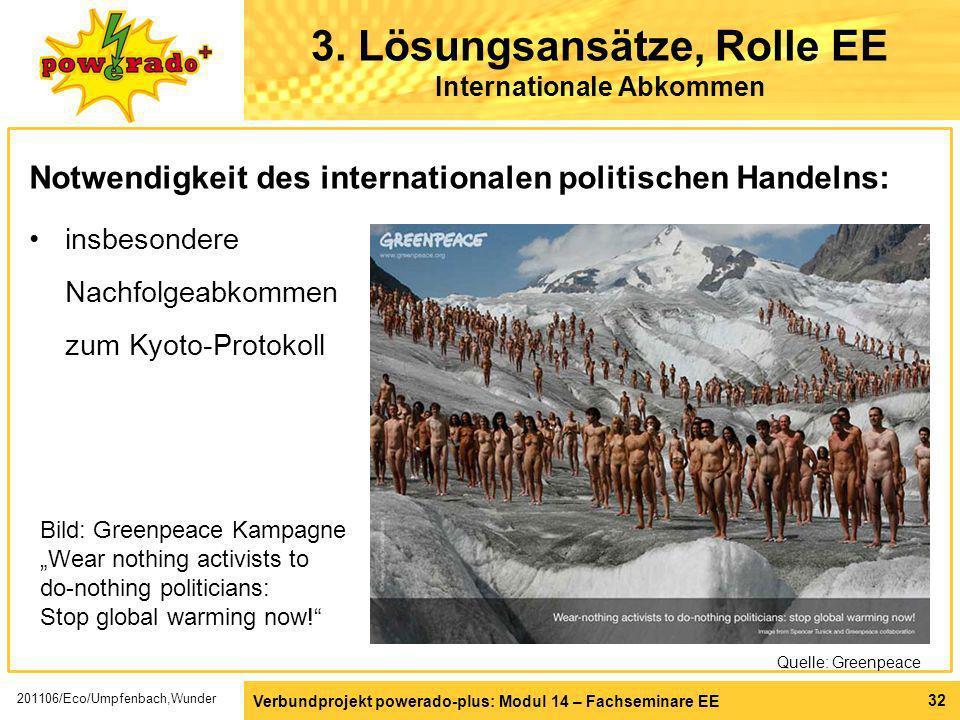 Verbundprojekt powerado-plus: Modul 14 – Fachseminare EE 32 3. Lösungsansätze, Rolle EE Internationale Abkommen Notwendigkeit des internationalen poli