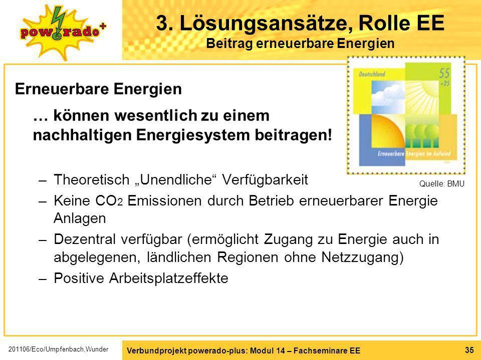 Verbundprojekt powerado-plus: Modul 14 – Fachseminare EE 35 3. Lösungsansätze, Rolle EE Beitrag erneuerbare Energien Erneuerbare Energien … können wes