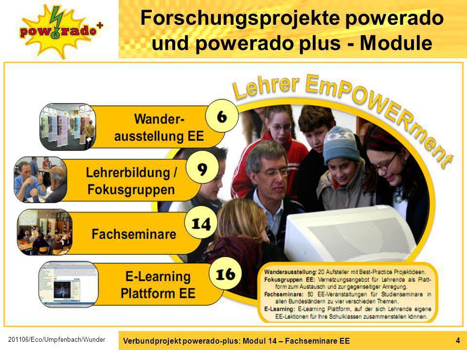 Verbundprojekt powerado-plus: Modul 14 – Fachseminare EE 4 Forschungsprojekte powerado und powerado plus - Module 201106/Eco/Umpfenbach/Wunder