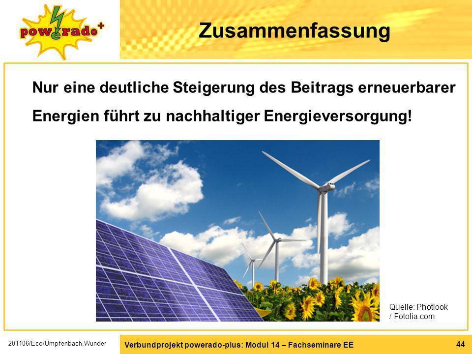 Verbundprojekt powerado-plus: Modul 14 – Fachseminare EE 44 Zusammenfassung Nur eine deutliche Steigerung des Beitrags erneuerbarer Energien führt zu