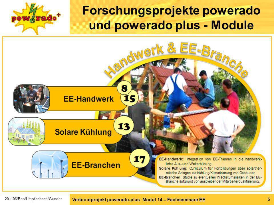 Verbundprojekt powerado-plus: Modul 14 – Fachseminare EE 5 Forschungsprojekte powerado und powerado plus - Module 201106/Eco/Umpfenbach/Wunder