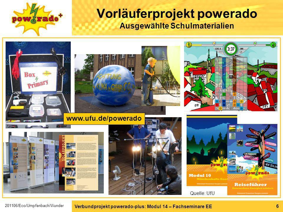 6 Vorläuferprojekt powerado Ausgewählte Schulmaterialien Quelle: UfU www.ufu.de/powerado Verbundprojekt powerado-plus: Modul 14 – Fachseminare EE 2011