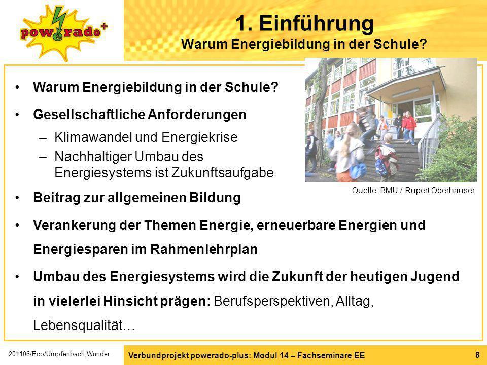 Warum Energiebildung in der Schule? Gesellschaftliche Anforderungen –Klimawandel und Energiekrise –Nachhaltiger Umbau des Energiesystems ist Zukunftsa
