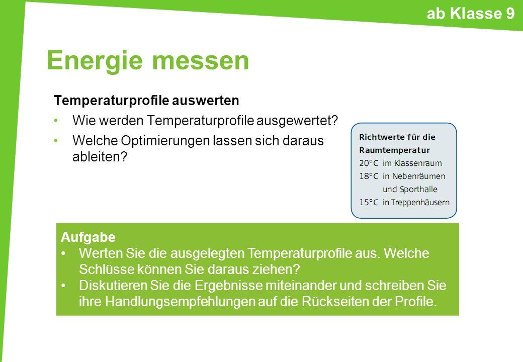 Energie messen Temperaturprofile auswerten Wie werden Temperaturprofile ausgewertet? Welche Optimierungen lassen sich daraus ableiten? Aufgabe Werten