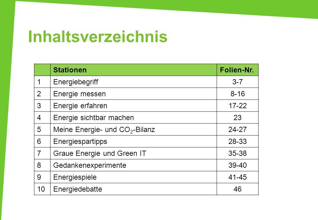 Inhaltsverzeichnis StationenFolien-Nr. 1Energiebegriff3-7 2Energie messen8-16 3Energie erfahren17-22 4Energie sichtbar machen23 5Meine Energie- und CO