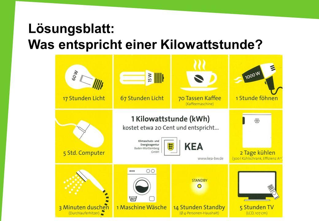 Lösungsblatt: Was entspricht einer Kilowattstunde?