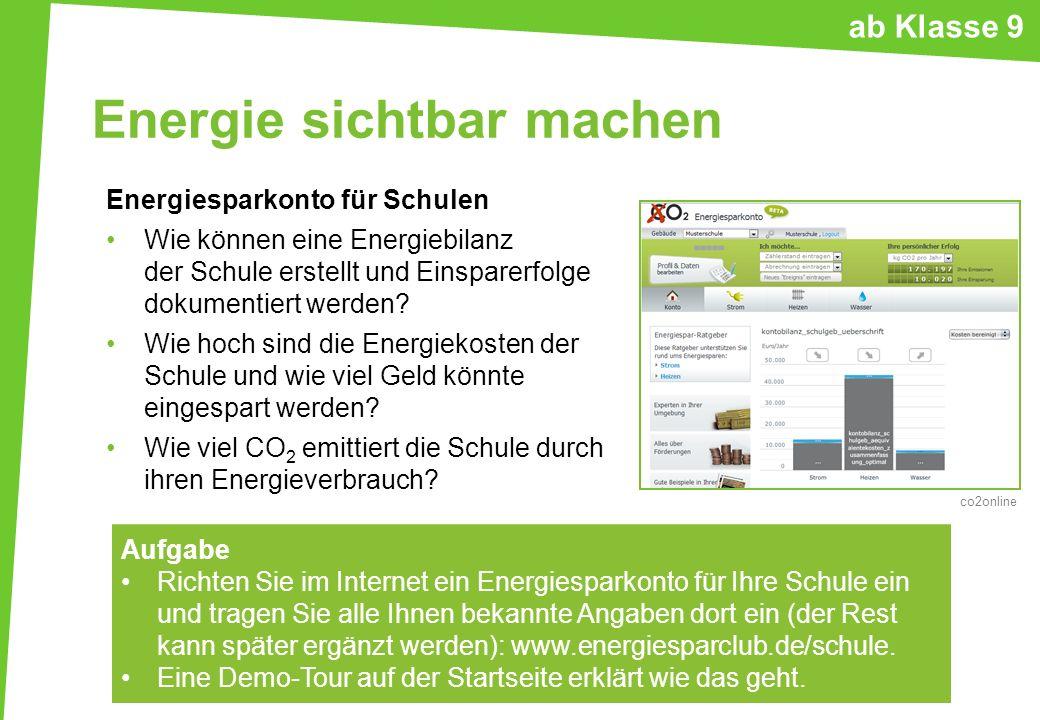 Energie sichtbar machen Energiesparkonto für Schulen Wie können eine Energiebilanz der Schule erstellt und Einsparerfolge dokumentiert werden? Wie hoc