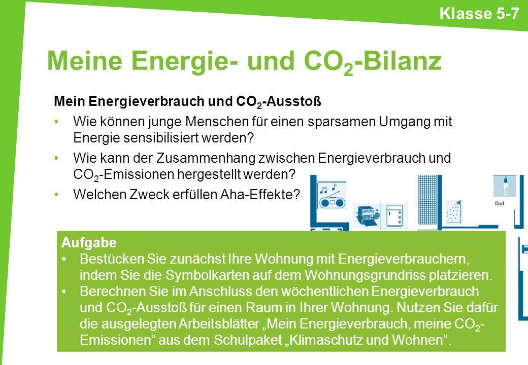 Meine Energie- und CO 2 -Bilanz Mein Energieverbrauch und CO 2 -Ausstoß Wie können junge Menschen für einen sparsamen Umgang mit Energie sensibilisier