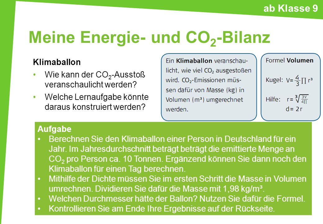 Meine Energie- und CO 2 -Bilanz Klimaballon Wie kann der CO 2 -Ausstoß veranschaulicht werden? Welche Lernaufgabe könnte daraus konstruiert werden? Au