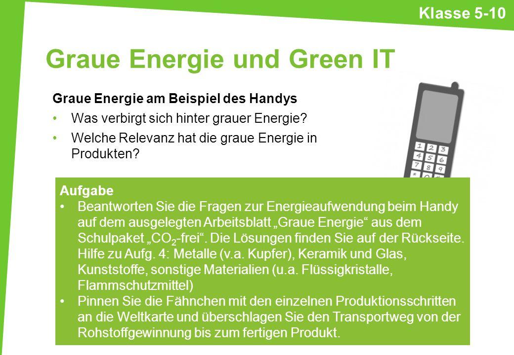 Graue Energie und Green IT Graue Energie am Beispiel des Handys Was verbirgt sich hinter grauer Energie? Welche Relevanz hat die graue Energie in Prod