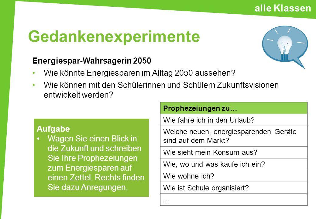 Gedankenexperimente Energiespar-Wahrsagerin 2050 Wie könnte Energiesparen im Alltag 2050 aussehen? Wie können mit den Schülerinnen und Schülern Zukunf
