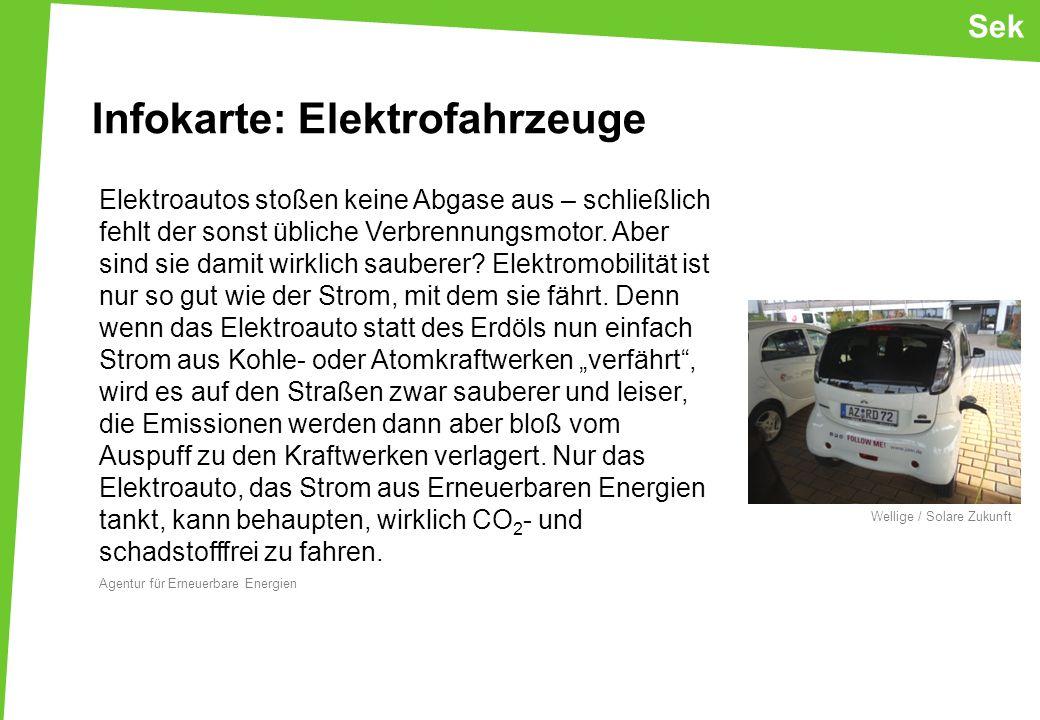 Sek Elektroautos stoßen keine Abgase aus – schließlich fehlt der sonst übliche Verbrennungsmotor.