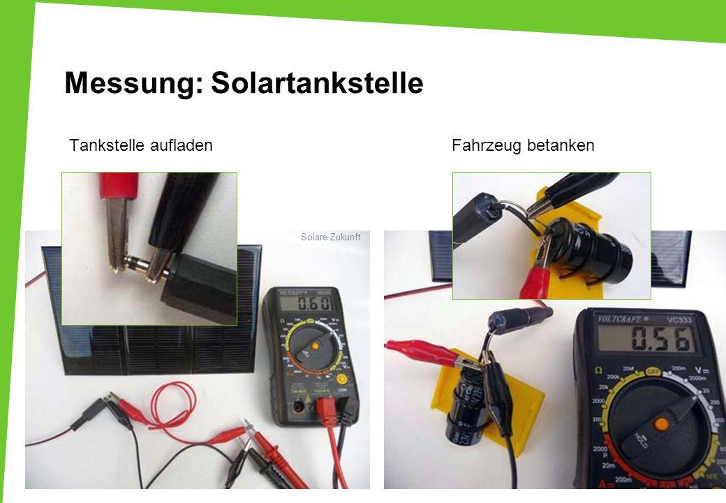 Tankstelle aufladen Fahrzeug betanken Messung: Solartankstelle Solare Zukunft