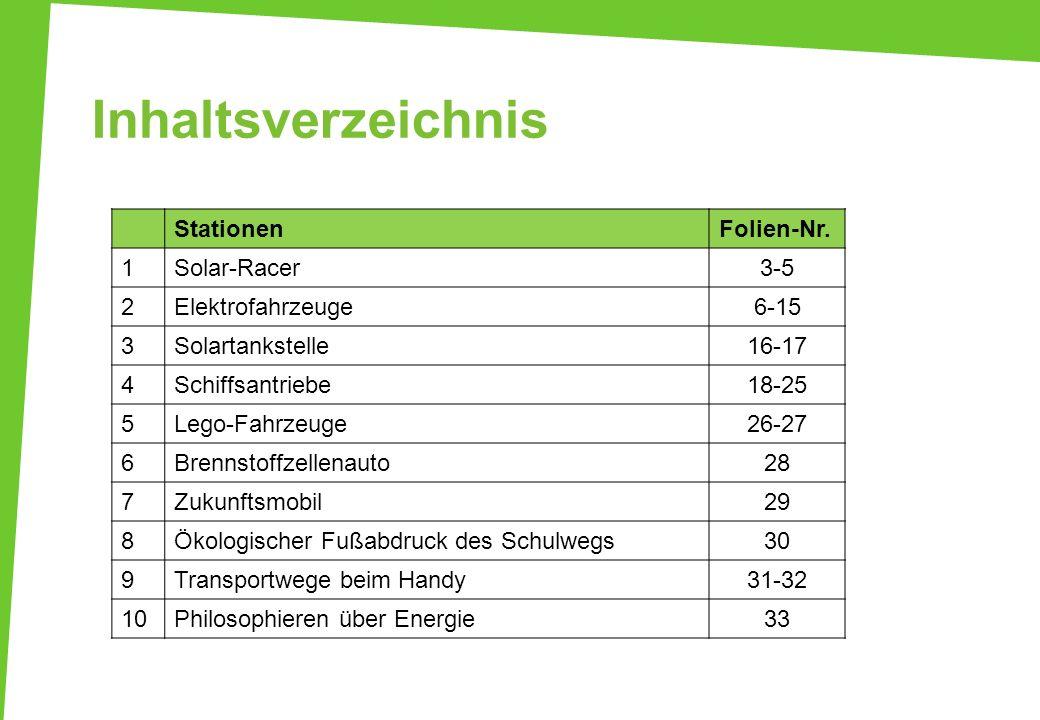 Inhaltsverzeichnis StationenFolien-Nr. 1Solar-Racer3-5 2Elektrofahrzeuge6-15 3Solartankstelle16-17 4Schiffsantriebe18-25 5Lego-Fahrzeuge26-27 6Brennst
