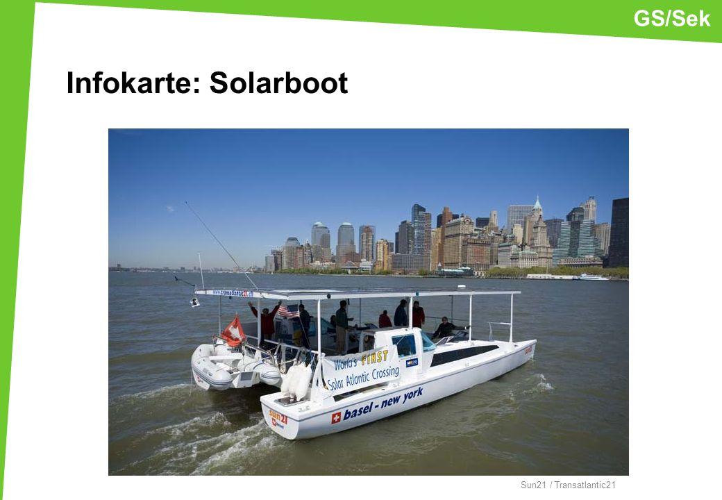 Sun21 / Transatlantic21 GS/Sek Infokarte: Solarboot