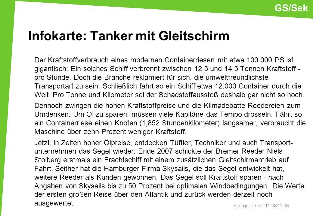 Infokarte: Tanker mit Gleitschirm Der Kraftstoffverbrauch eines modernen Containerriesen mit etwa 100.000 PS ist gigantisch: Ein solches Schiff verbre